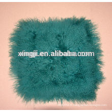 couvertures de fourrure d'agneau mongolien vert teint