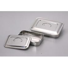 Support de plat carré désinfectant médical d'acier inoxydable avec le couvercle et sans trous