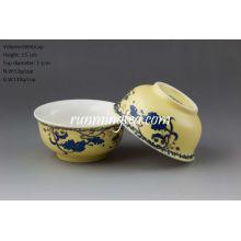 """Coupe de thé """"Sowbread Flower"""" Glace jaune en porcelaine"""