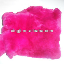 Dyed rose red color rex rabbit fur for leather products