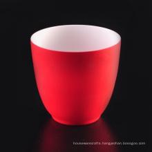 Stripe Texture Glazed Red Color Ceramic Candle Holder Supplier