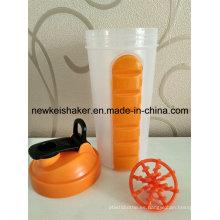 La más nueva botella patentada del agitador de la proteína con la caja de la píldora