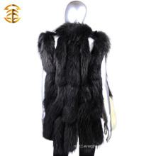 Wholesale Luxury Black Knitted Fur Trim Vest Women Wth Raccoon Fur Trim