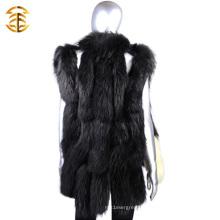 Venda Por Atacado Luxo Black Knitted Fur Trim Vest Mulheres Wth Raccoon Fur Trim