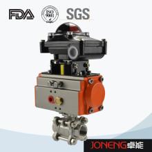 Vanne à bille à trois voies pneumatique en acier inoxydable avec interrupteur de fin de course (JN-BLV2001)