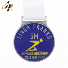 Custom own design marathon sports medal with ribbon