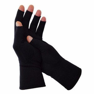 Black Simple Design Cotton Knitted Gloves