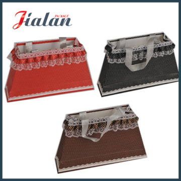 Ribbon Handle Rope Cheap Customize Lace Decoration Customize Paper Bag