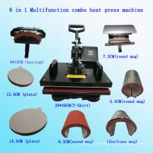 8 dans 1 multifonction Combo machine de presse de chaleur multifonction Combo machine de transfert de chaleur T-Shirt machine d'impression Stc-SD08
