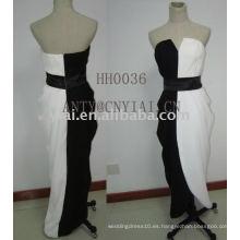 2011 nuevo diseño en blanco y negro vestido de noche HH0036