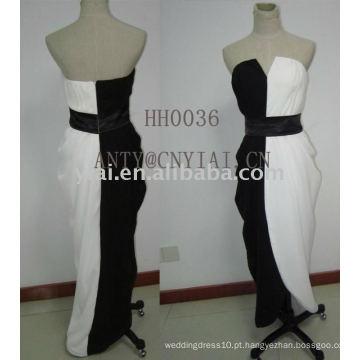 2011 novo vestido de noite preto e branco design HH0036