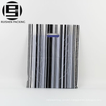 Striped color patch handle plastic carrier bags