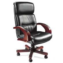 Silla ejecutiva de oficina con respaldo alto de cuero negro (FOHB-37-1 #)