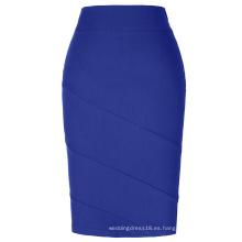 Kate Kasin Occidental Mujer OL Alta Estiramiento Hips-Envuelto Falda Lápiz Azul KK000269-4