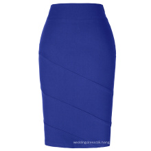 Kate Kasin Occident Women's OL High Stretchy Hips-Wrapped Blue Pencil Skirt KK000269-4