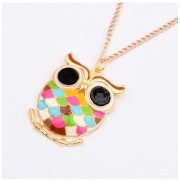 Cheap jewelry Beautiful colorful enamel owl shape Alloy Pendant Necklace wholesale gold plate charms female