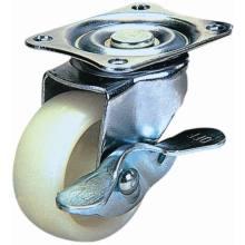 Swivel Nylon Caster with Side Brake (White)