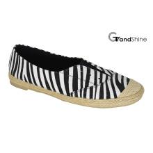 Espadrille das mulheres impresso lona plana sapatos casuais