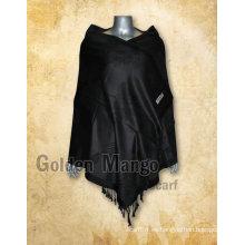 Mantón de viscosa de color negro jaquard