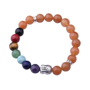 7 Chakra Gemstone Beads Buddhism & Buddha Alloy Red Aventurine Bracelet