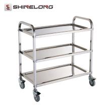 S082 3 couches assemblant le chariot résistant de cuisine d'acier inoxydable de chariot à service de restaurant