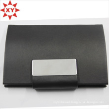 Fashion Black Leather Wrap Metal Card Holder Brushed Steel Card Holder