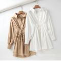 100% algodão branco grande tamanho feminino vestidos de camisa casual