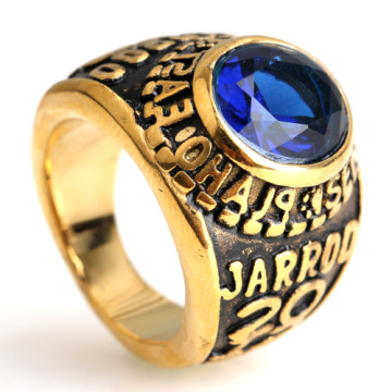 Plated Stainless Steel Gemstone Ring Gold silver