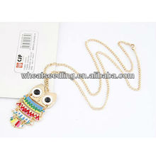 2013 Fashion Owl Design en alliage en émail pendentif chaîne en chandail chaîne JN38