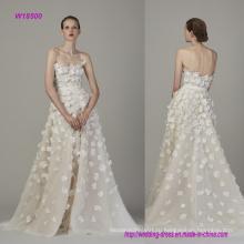 Без бретелек и backless мода 3D цветы линия свадебное платье