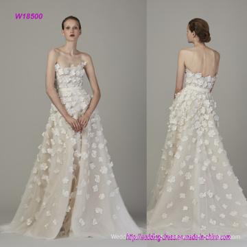 Trägerlos und Backless Fashion 3D Blumen A Line Brautkleid