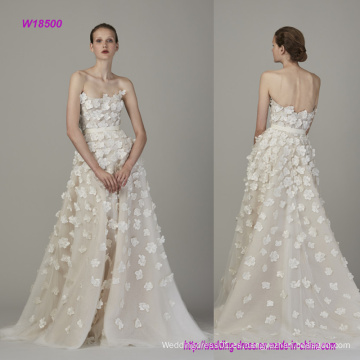 Vestido sin tirantes y Backless de la manera 3D Flowers A Line Wedding Dress