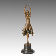 Tänzer Statue Pretty Girl Bronze Skulptur, D. H. Chiparus TPE-360