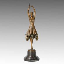 Dancer Statue Pretty Girl Bronze Sculpture, D. H. Chiparus TPE-360