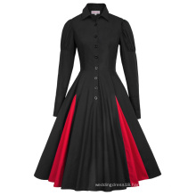 Belle Poque Retro Vintage Victorian Style Long Sleeve Shirt Collar Contrast Color Black Swing Dress BP000366-1