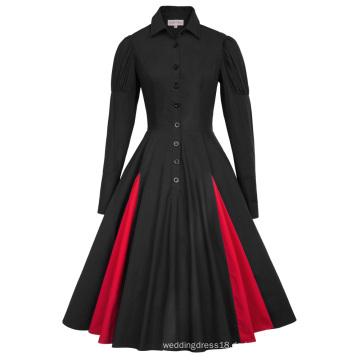 Belle Poque Retro Vintage viktorianischen Stil Langarm Shirt Kragen Kontrast Farbe Schwarz Swing Kleid BP000366-1