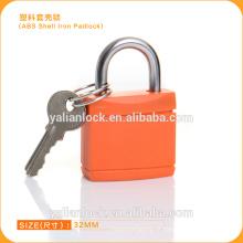 Laranja Tipo ABS Shell Ferro cadeado colorido Tampa de plástico Cadeado de segurança do corpo