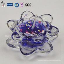 Vela perfumada de la cera del gel de la calidad superior en el candelero de cristal