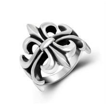 Старинные цветок полым из кольцо из нержавеющей стали мужские