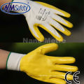 NMSAFETY CE certification 100% Polyester Fabric yellow nitrile coated glove EN388 3131