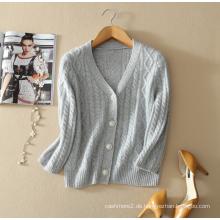 Damen reine Kaschmir-Pullover-Strickjacke tiefem V-Ausschnitt Strickjacke Mantel mit drei Viertel Ärmel