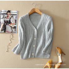 Ladies' pure cashmere sweater cardigan deep v neck cardigan coat with three quarter sleeves