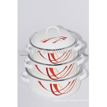3pcs enamel casserole with metal lid