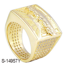 Art- und Weiseschmucksachen 925 Silber 14 K Goldschmucksache-Männer Ring.