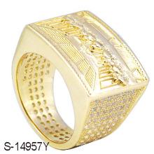 Jóia de moda 925 Prata 14 K Anel de ouro dos homens da jóia.