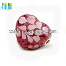 belle pleine coeur rose argent placage perles de base 20 * 20mm