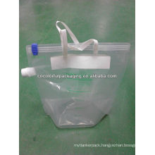 Transparent water packaging bag handle Liquid Stand up plastic packaging bag with spot