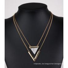 Dreieck Türkis V Form Doppel mehrschichtigen Clavicular Halskette