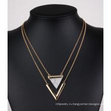 Треугольник бирюзовый V форму двойной многослойных ключицы ожерелье