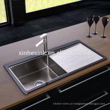 Dissipador de cozinha de aço inoxidável de vidro moderado QUENTE com único escorredor da bacia
